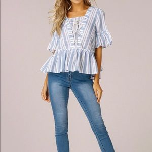 Nautical Lace tie top